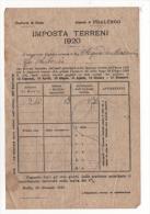 Alt372 Cartella Di Pagamento Esattoriale, Esattoria Biella Pralungo, Terreni E Fabbricati, 1920 - Italia