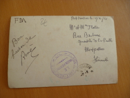 Sur Photo Carte Postale Port Vendres En FM. Cachet Plage De Port Vendres.1941.WW2 2ème Guerre Mondiale - Guerre De 1939-45