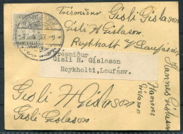 1937 5 Aur Jochumsson Reykjavik Trade Union Meeting Invitation Agenda Card - Gisli H Gislason - Reykholti, Laufasv - 1918-1944 Administration Autonome
