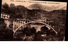 Cpa Animée  -  CLANS  ( Alpes  Maritimes  ) Ligne Du Tram De La Tinée  -  Le Pont De Clans - Autres Communes