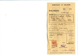 TIMBRE FISCAL MALAISIE Sur Document Municipalité De SINGAPOUR - Singapore (1959-...)