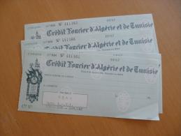 Lot De 4 Chèque De Banque Crédit Foncier D'algérie Et De Tunise - Factures & Documents Commerciaux