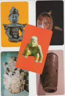 5 POSTCARDS:  'MEXICO',Figura Prehispánica, Plato Tripode, Urna Ceremonial, Aztec Drum -(2 Scans) - ART/KUNST - Postkaarten