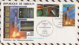 FDC 16 ENVELOPPE 1ER JOUR 1985 REPUBLIQUE DE DJIBOUTI EXPANSION DES TELECOMMUNICATIONS - Djibouti (1977-...)