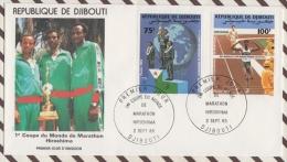 FDC 18 ENVELOPPE 1ER JOUR 1985 REPUBLIQUE DE DJIBOUTI 1ERE COUPE DU MONDE DE MARATHON HIROSHIMA - Djibouti (1977-...)