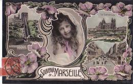 13 / SOUVENIR DE MARSEILLE / TRES JOLIE CARTE PAPIER GLACE 1907 - Marsiglia