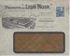 """FR - 1930 - JEANNE D'ARC PERFORE SUR BELLE ET RARE ENVELOPPE A FENETRE """" PRODUIT Du LION NOIR """" A MONTROUGE (SEINE) - - Marcophilie (Lettres)"""