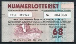 1977 Sweden Nummerlotteriet Lottery Ticket - Biglietti Della Lotteria