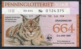 1986 Sweden 30 Kr Penninglotteriet Lottery Ticket - WWF - Lynx - Lotterielose