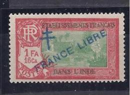 FrenchIndia1941-3:FRANCE LIBRE Yvert164mnh**full,origina L Gum - India (1892-1954)