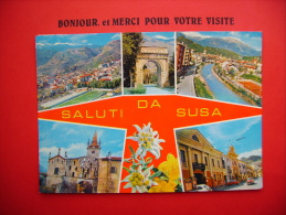 =  Cp  Timbre  Multivues   Saluti Da Susa  Italie - Zonder Classificatie