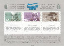 Berlin LUPOSTA ´77, Markenblock  Mi.Nr.77/6, Graf Zeppelin, Hermann Oberth, Hans Grade - Erinnofilia