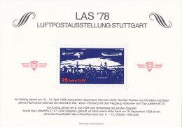25 Jahre EAPC, Erinnerungsblock Zur LAS ´78 In Stuttgart,  Zeppelin Und Junkers W 33 über Stuttgart - Erinnofilia