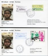 1986 Germany Gabon Frankfurt - Liberville - Frankfurt Lufthansa First Flight  Postcards X 2 - Gabon