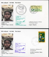 1987 Germany Nigeria Lufthansa First Flight Frankfurt - Lagos - Frankfurt Cards X 2 - Nigeria (1961-...)
