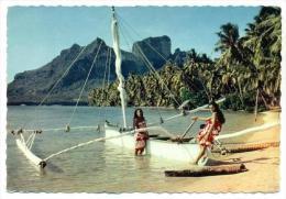 Pirogue A Voile Sur La Plage De L'Hotel Bora-Bora, Tahiti, Oceania, 1950-1970s - Tahiti