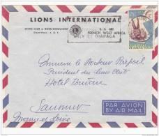 Z] RARE: Lettre 1961 Haute-Volta Enveloppe Lions Club International Cover Bobo-Dioulasso Lion - Rotary Club
