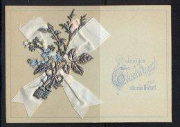 Rastenberg 15 Juni 1894-Herzlichen Glückwunsch Zur Silbernen Hochzeit  Mit Stoff Und Silberdekoration Bestückt Maße: 10, - Hochzeit