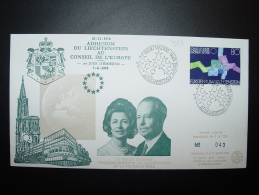 ADHESION LIECHTENSTEIN 1979 PRINCE REGNANT FRANCOIS-JOSEPH II  ET LA PRINCESSE GINA CONSEIL DE L´EUROPE TIRAGE LIMITE - Liechtenstein