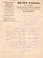 BELGIQUE - OSTENDE - MARBRES DE TOUTES ESPECES - PIERRES BLEUES - PIERRES BLANCHES - PETIT FRERES - LETTRE - 1926 - 1900 – 1949