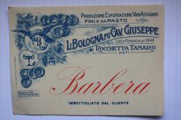 ETICHETTA VINI:  BARBERA L. BOLOGNA FU GIUSEPPE ROCCHETTA TANARO ASTI PRODUZIONE VINI ASTIGIANI FINI E DA PASTO - Art Nouveau