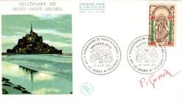 """République Française / France Designer Autograph By  Pierre Gandon """"Mont Saint Michel"""" Cacheted FDC 1966 - Cristianesimo"""