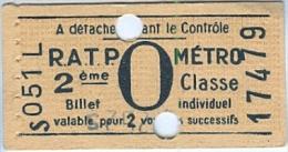 TICKET - R.A.T.P. - METRO - 2e Classe, Billet Individuel, Valable Pour 2 Voyages Successifs (17479) - Publicité LUCKY - Europe