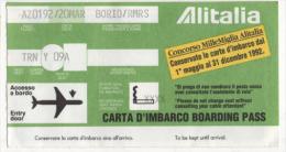 Alt350 Carta Imbarco, Boarding Pass, Alitalia Flight, Volo, Airline, Linea Aerea - Plane
