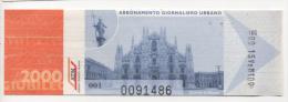 Alt317 Biglietto Ticket Billet Bus Autobus Metro Tram Tramways Milano Milan Duomo Dome Madonnina Giubileo 2000 Religion - Europa