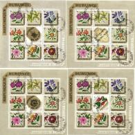 Burundi 1967, 4 Blocks Used Complete Series, Flowers, Independance - Burundi