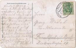 "(15-008) AK Schwarzwaldhaus Bahnpost ""BASEL-ZELL(WIESENTHAL) 1911 - Usados"