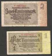 DEUTSCHLAND - Weimarer Republik - 1 & 2 RENTENMARK - Lot Of 2 Banknotes (Berlin 1937) - [ 3] 1918-1933 : Weimar Republic
