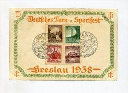 1938 3.Reich Mehrfarbiges Gedenkblatt Dt. Turn- Und Sportfest Breslau Mi 665-668 - Briefe U. Dokumente