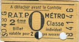 TICKET - R.A.T.P. - METRO - 2e Classe, Billet Individuel, Valable Pour 2 Voyages Successifs (84146) - Publicité CATOU - Europe