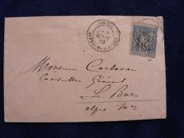 -Alpes-Maritimes : Enveloppe De SOSPEL Pour Le Bar (1889) ,t 18 Sur Sage , Chbre Des Députés. - Marcofilie (Brieven)
