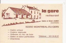 CARTE DE VISITE RESTAURANT LA GARE ODETTE ET MICHEL JAURREY PROPRIETAIRE 32250 MONTREAL DU GERS - Visiting Cards