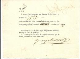 POSTE . AVIS PRIX DU PORT DES LETTRES . 1749 - Documents Historiques