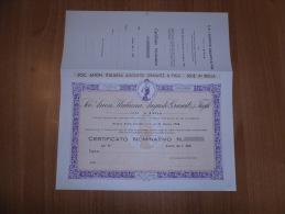 SCRIPOFILIA CERTIFICATO AZIONARIO SOCIETà ANONIMA FILATURA ITALIANA AUGUSTO GRAWITZ BIELLA 1932 - Azioni & Titoli