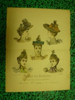 1893 Gravure De Mode COIFFURES ..sauvegardée D´une Revue Ancienne..envoi Gratuit France Et Monde Entier - Patrons