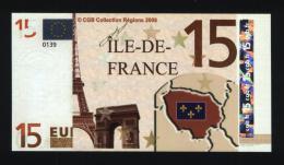 Billet 15 € Région Île-de-France / France (art N° 10) - EURO