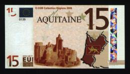 Billet 15 € Région Aquitaine / France (art.N° 15) - EURO