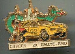 Pin´s Pins - CITROEN ZX Rallye Raid - Voiture Tour Eiffel Dragon - Citroën