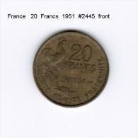 FRANCE   20  FRANCS  1951  (KM # 917.1) - L. 20 Francs
