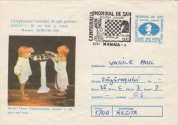 CHESS, ECHECS, CHILDRENS, COVER STATIONERY, ENTIER POSTAL, 1991, ROMANIA - Schaken