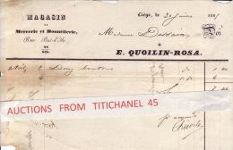 Facture De 1866 LIEGE - E. QUOILIN-ROSA Rue Pont D´Ile - Magasin De Mercerie & Bonneterie - Unclassified