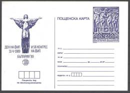 1989 Bulgaria PC 269 II  -  World Philatelic Exhibition Bulgaria 89 -  FIP Day - May 31, Mint Card, Issued 1060 - Postkaarten
