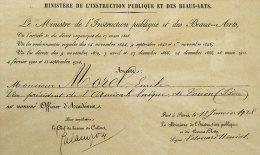 Emile Morel Vice-Président Amical Laïque De Voiron (Isere)nommé Officier D'Académie Signé Edouard Herriot - Autographes