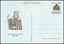 "San Marino 1981, Postal Stationery ""Santa Rita Da Cascia"" - Entiers Postaux"