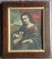 Peinture 17x21 Cm Sur Cuivre Représentant Une Jeune Fille Et Son Agneau - RARE - Non Classés