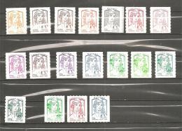Série Complète De 18 Valeurs Autocollantes (15 + 3 Roulettes) - 2013-... Marianne Of Ciappa-Kawena